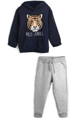 Conjunto De Moletom Casaco E Calça Tigre/Pantera Wild Jungle Azul Marinho Milon