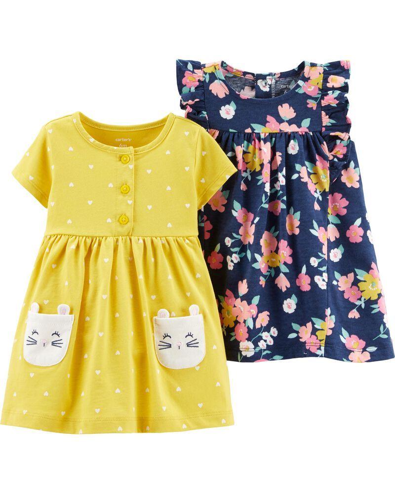 Conjunto 3 Peças De Algodão Vestidos Azul Marinho Florido E Amarelo Corações E Coelho E Calcinha Carter's
