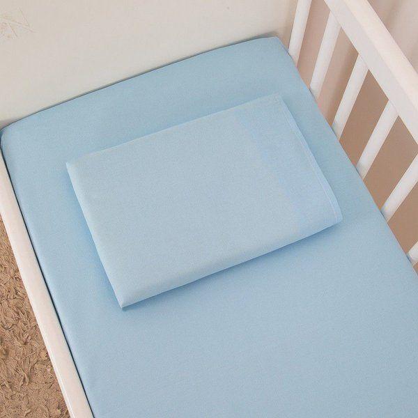 Jogo Lençol De Berço 2pcs Percal 300 Fios Azul Bebê Aime