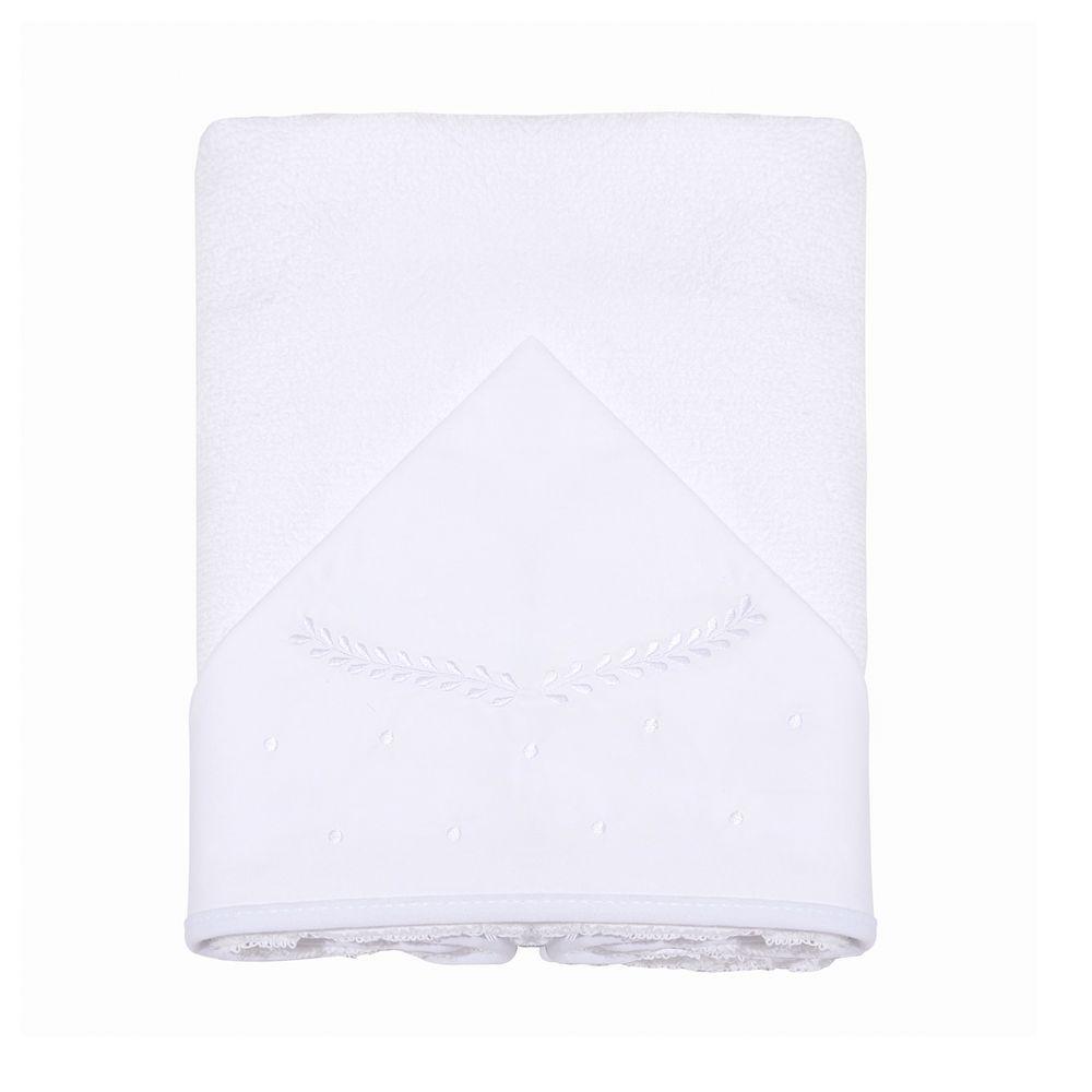 Toalha De Banho Felpuda Forrada C/Capuz Bordado 90cm X 80cm Clássico Branco Mami