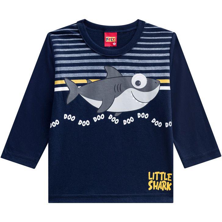 Camiseta De Algodão Manga Longa Tubarão Little Shark Azul Marinho Kyly