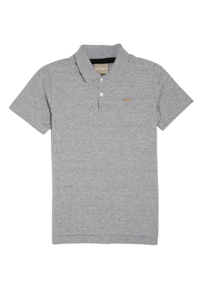Camisa Polo De Algodão Cinza Milon