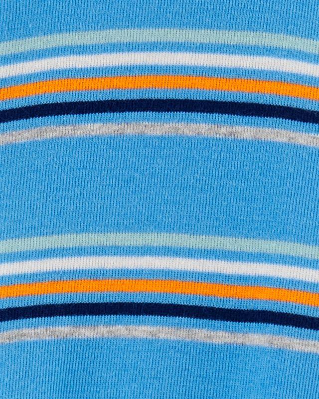 Macacão De Algodão Com Pé Coala Azul Com Listras Coloridas Carter's