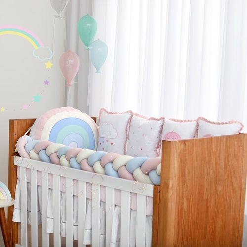 Kit De Berço 10pçs Arco Iris Rosa Baby Magia Brubreleu Baby