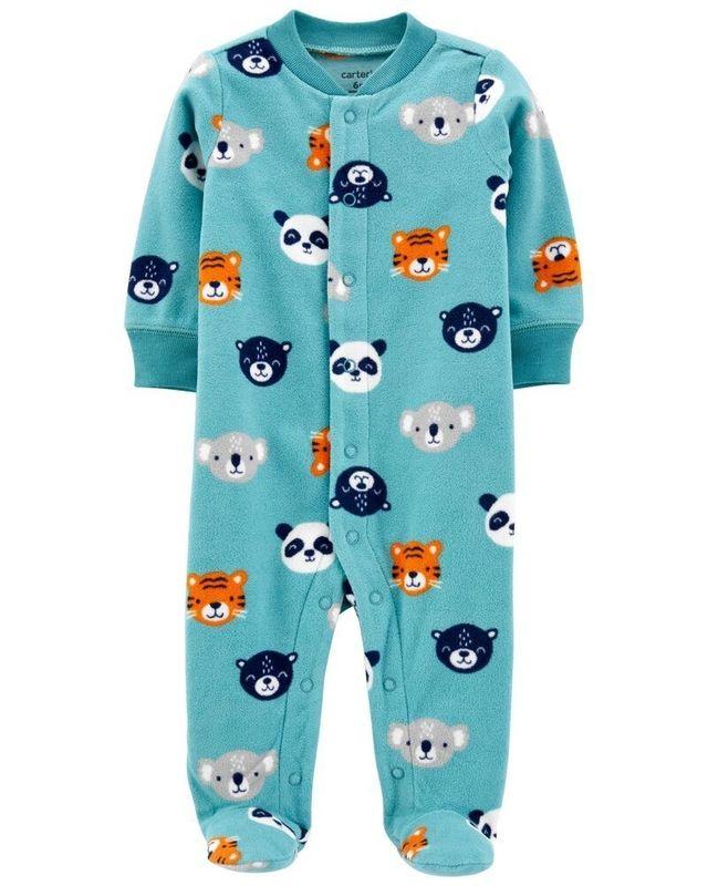 Macacão Fleece Com Pé Animais Azul Carter's Baby
