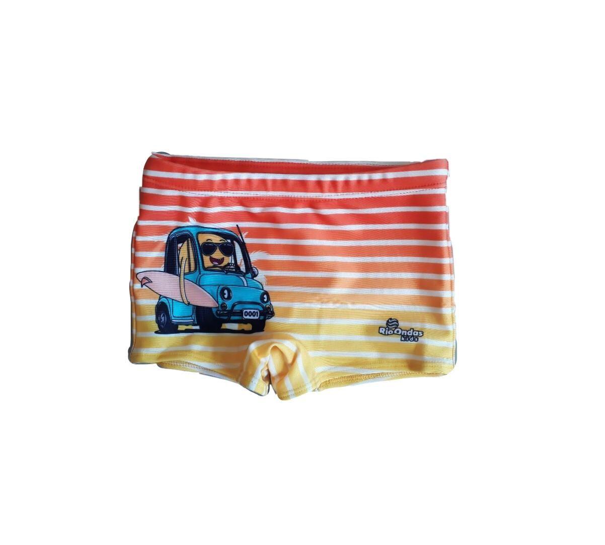 Sunga Box Carro Listrado Amarelo & Laranja Rio Ondas