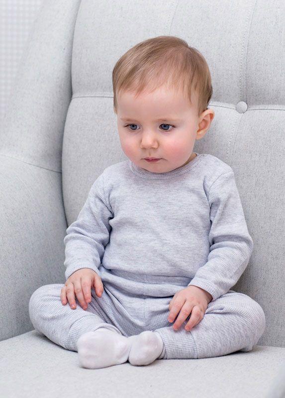 Body Bebê Canelado Cinza Mescla Dedeka