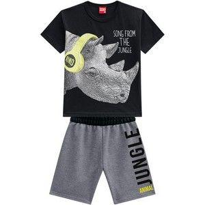 Conjunto 2 Peças De Algodão Rinoceronte De Fone Camiseta Preta E Bermuda Cinza Kyly