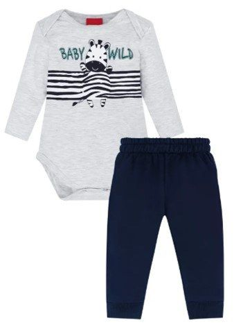 Conjunto De Bodie Manga Longa Cinza E Calça Azul Baby Wild Zebra Kyly