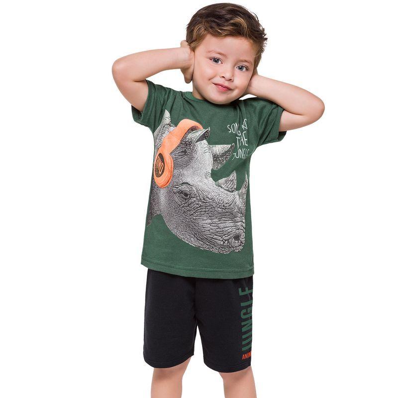 Conjunto 2 Peças De Algodão Rinoceronte De Fone Camiseta Verde E Bermuda Preta Kyly