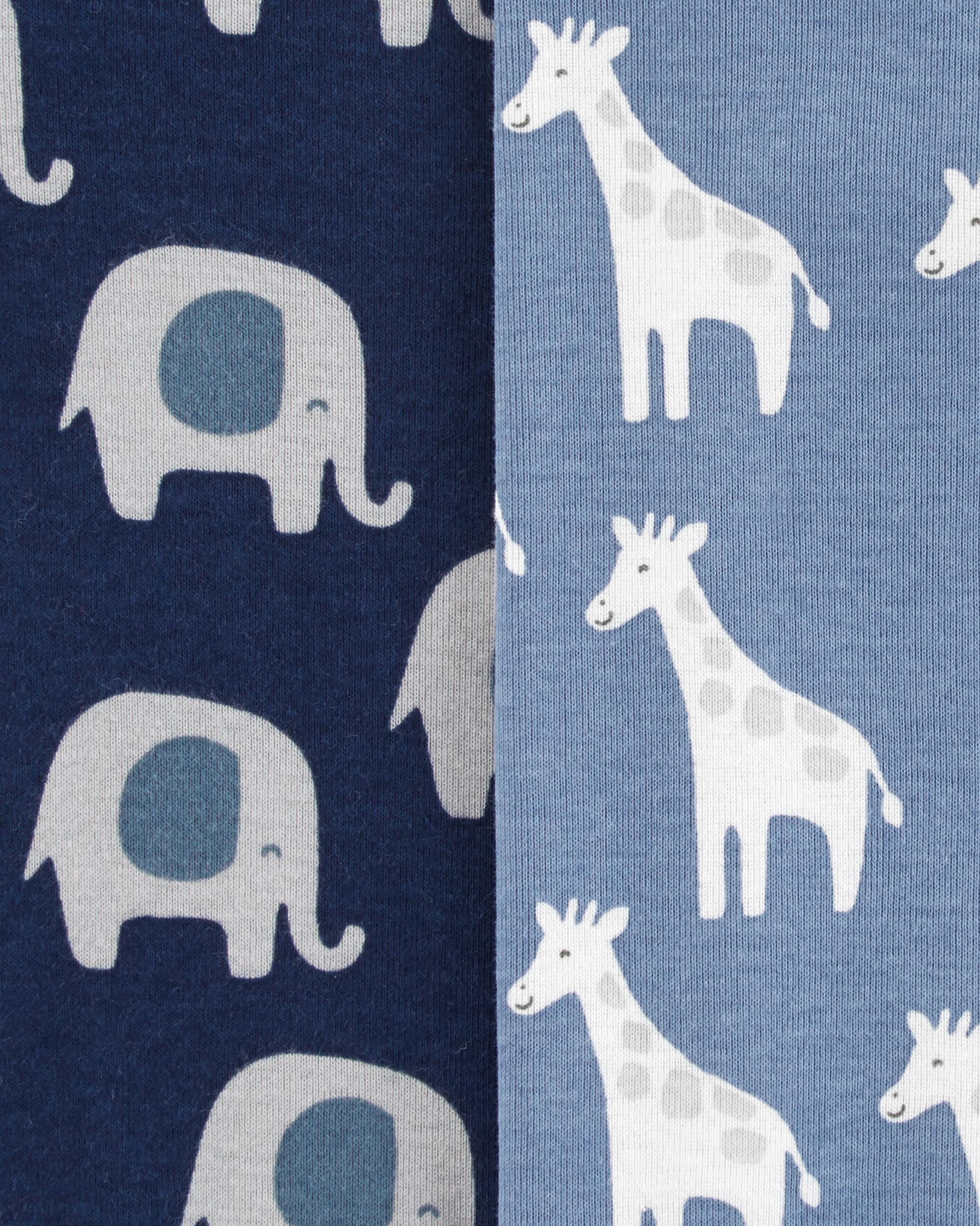 Kit 4 Bodies De Algodão Manga Longa Elefantes E Girafas Carter's