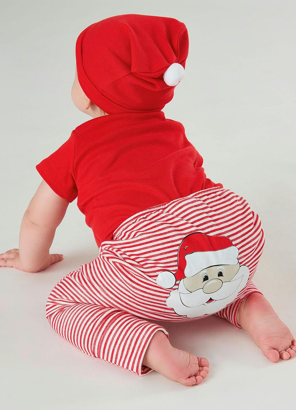 Kit Body Manga Curta Calça E Touca Natal Best Time Of The Year Vermelho Up Baby