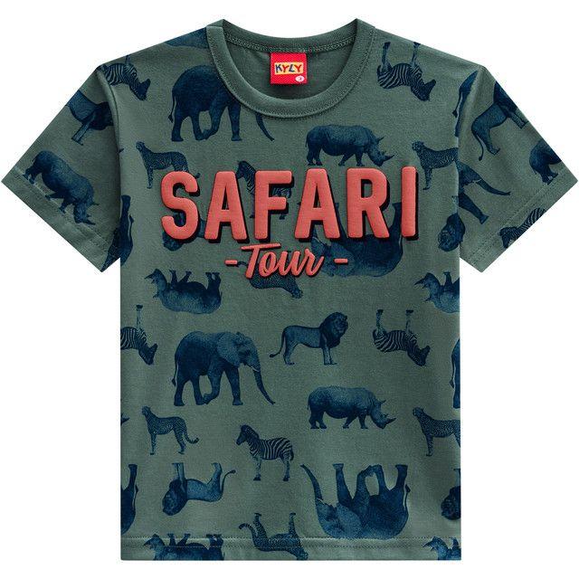 Camiseta De Algodão Manga Curta Safari Tour Verde Kyly