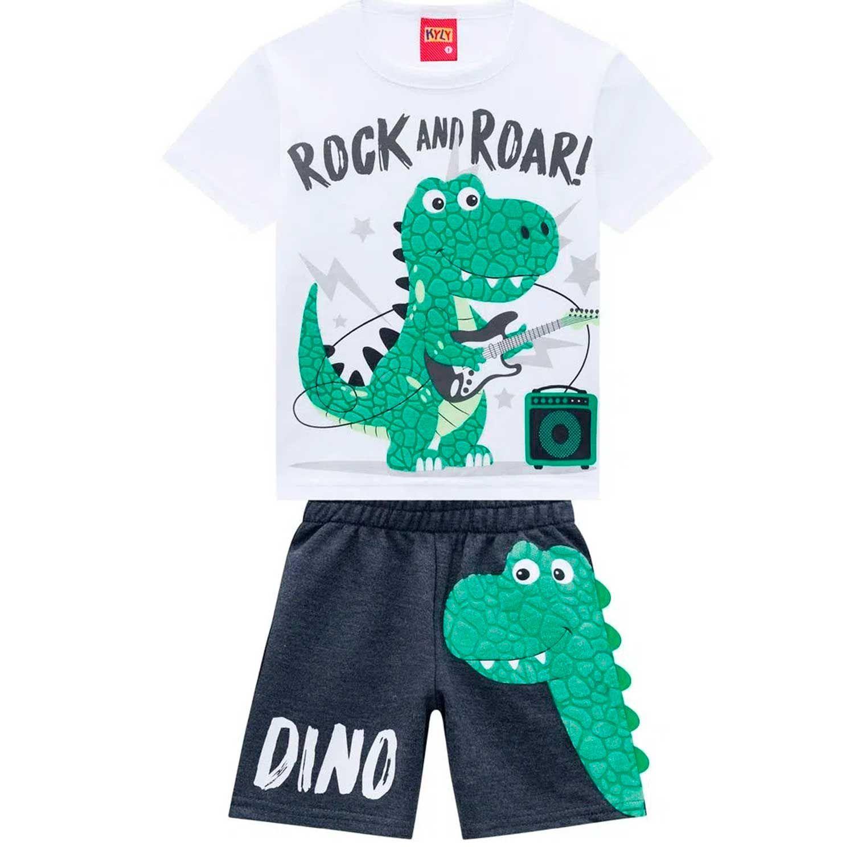 Conjunto 2 Peças De Algodão Dinossauro Rock And Roar Branco E Cinza Chumbo Kyly