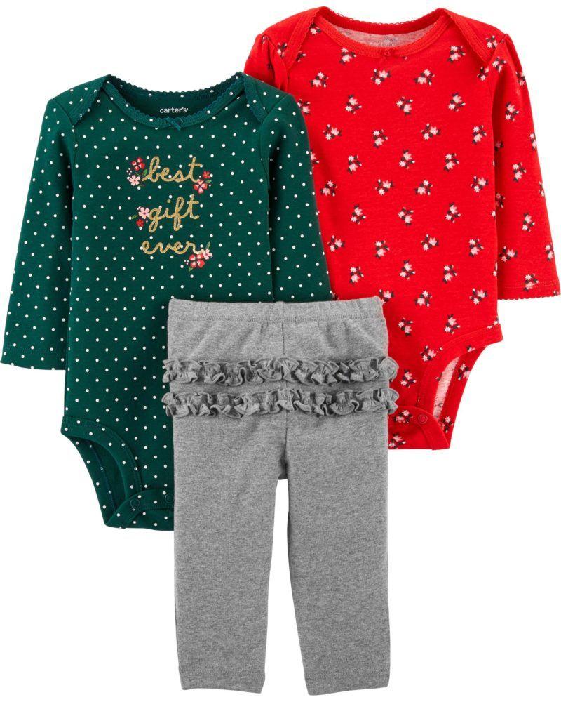 Trio De Algodão Best Gift Ever Florido Verde E Vermelho Carter's