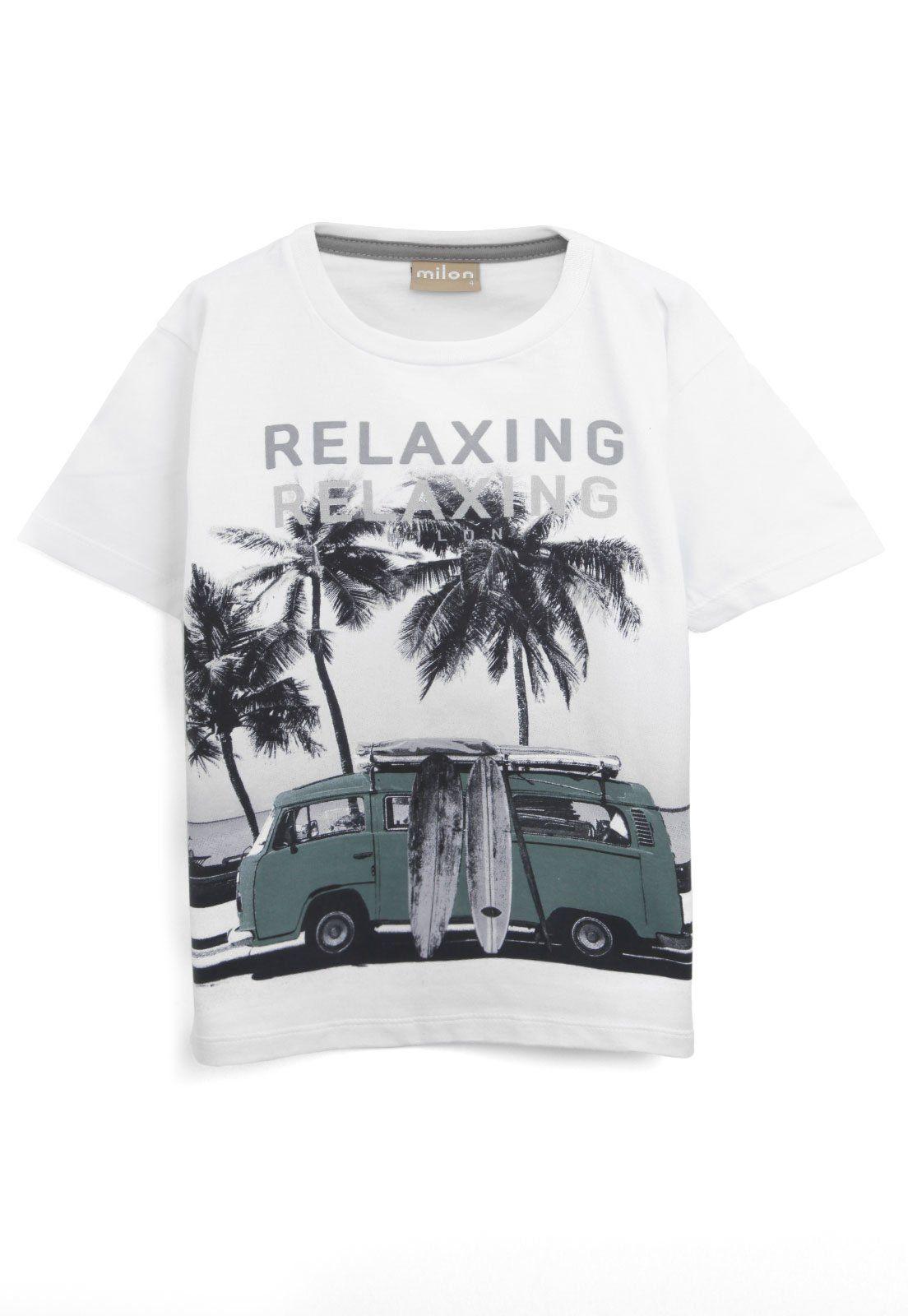 Camiseta De Algodão Relaxing Branca Milon