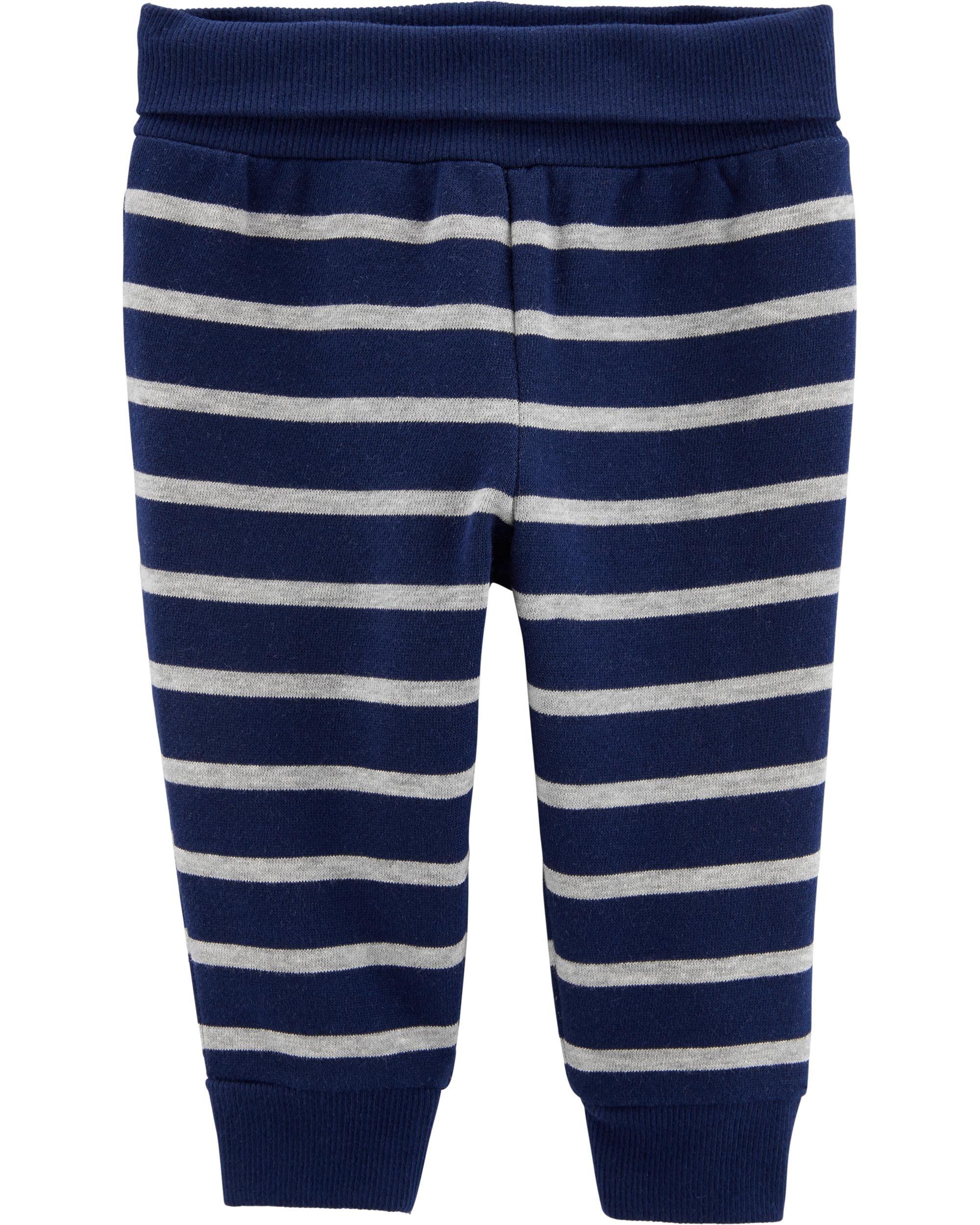 Calça De Algodão Forrada Listrada Azul E Cinza Carter's