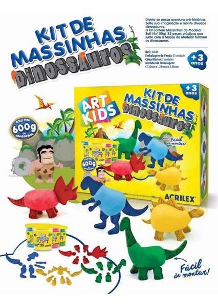 Kit Massinhas Dinossauros Acrilex Art Kids