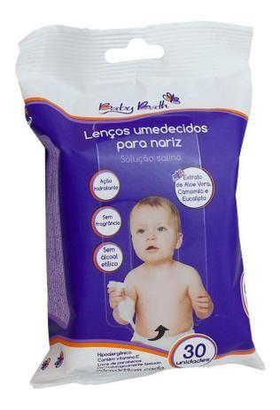 Lenços Umedecidos Para Nariz Solução Salina 20cm x 13cm 30 Unidades Baby Bath