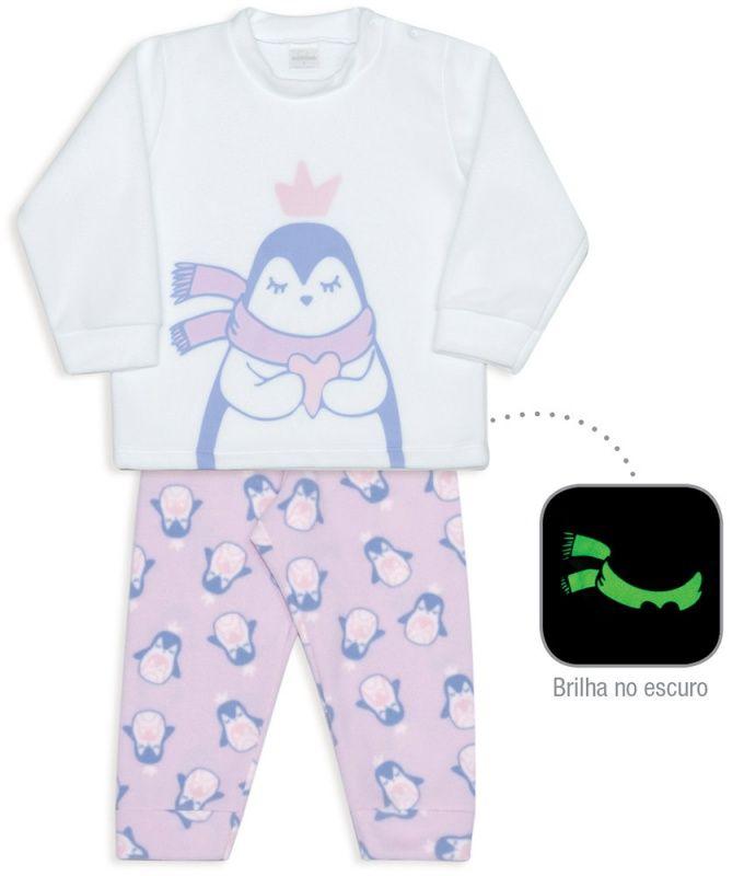 Pijama Infantil De Microsoft Brilha No Escuro Mamães Pinguins Dedeka