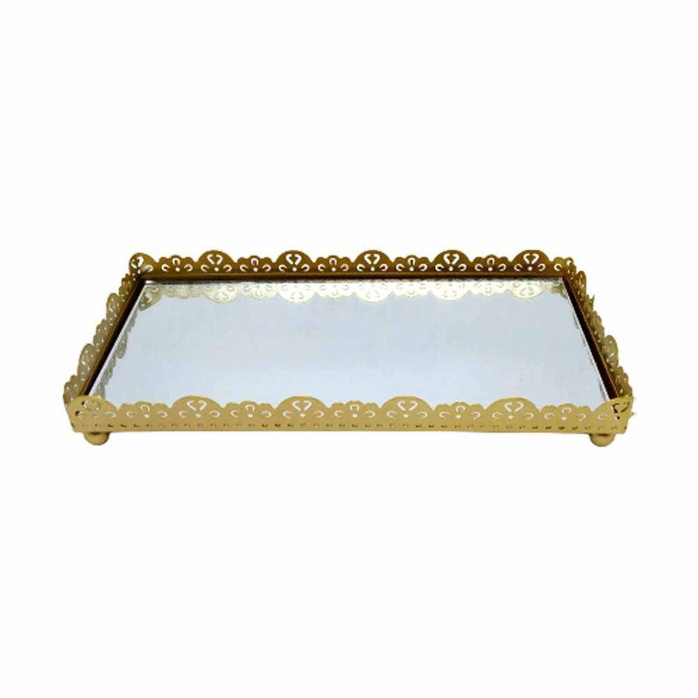 Bandeja De Metal Retangular Com Espelho E Bordas Douradas 10,5cm x 20,5cm FWB