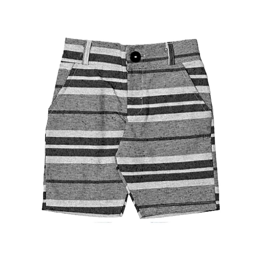 Bermuda Sarja Jeans Listrada Preto E Cinza By Gus