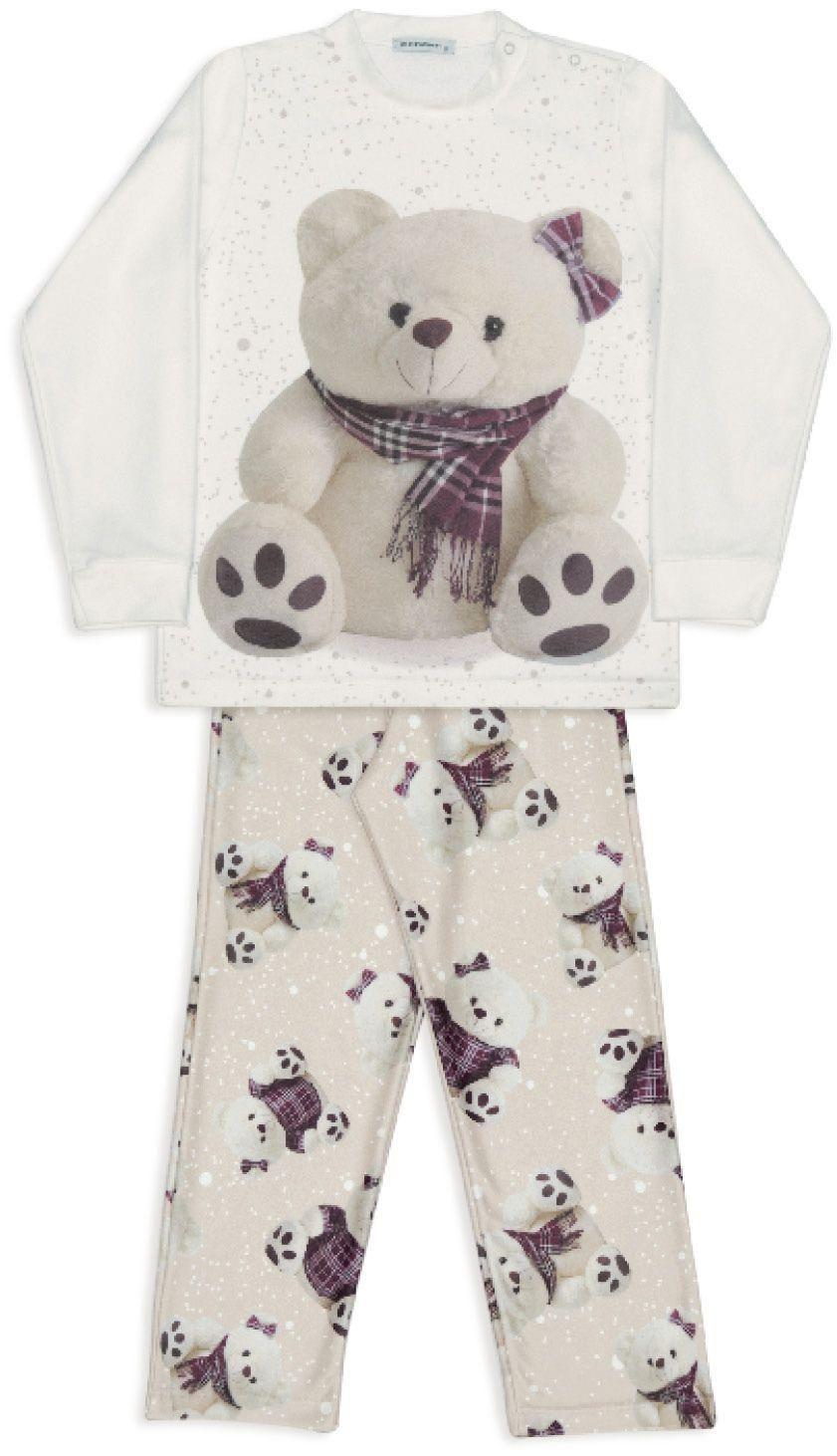 Pijama De Microsoft Infantil Ursas Xadrez Dedeka