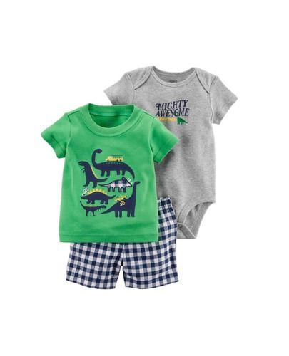 Conjunto 3 Peças De Algodão Mighty Awesome Little Dude Dinossauros