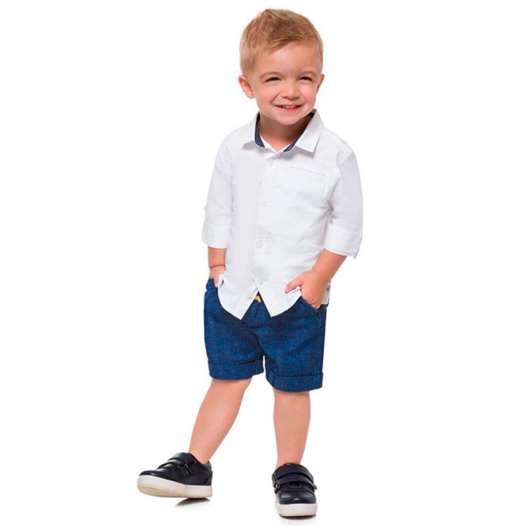 Conjunto 2 Peças Camisa Social De Algodão Branca E Bermuda De Linho Azul Milon