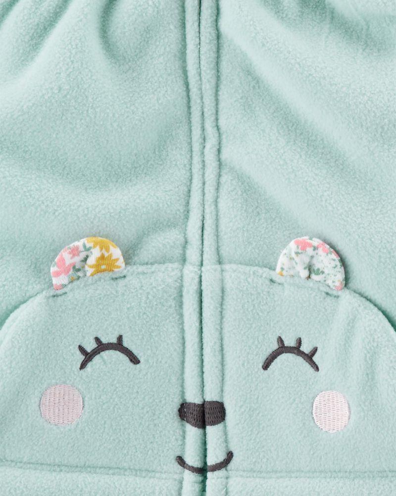 Conjunto 3 Peças De Fleece Colete Urso Azul E Body Manga Longa Floral Carter's