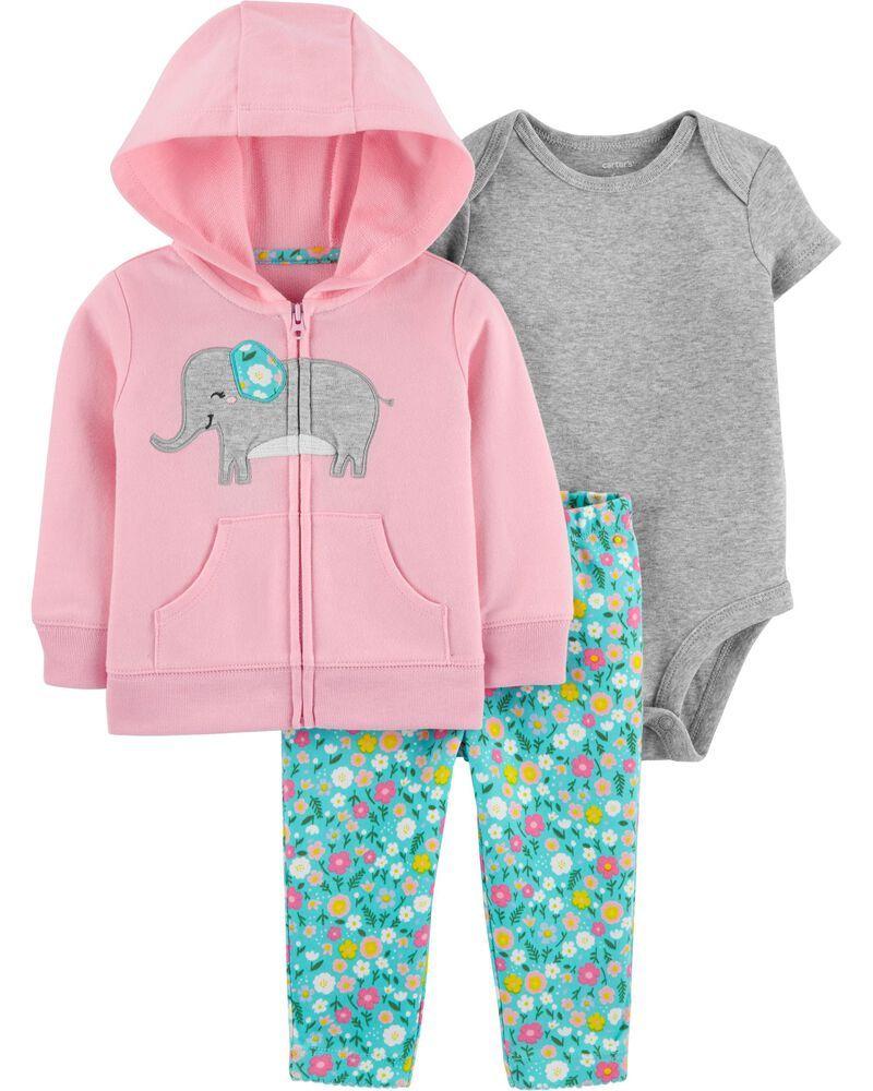 Conjunto De Algodão Casaco Rosa Com Elefante Impresso E Calça Florida Carter's