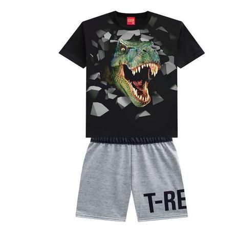 Conjunto 2 Peças De Algodão Dinossauro T-Rex Camiseta Preta E Bermuda Cinza Kyly