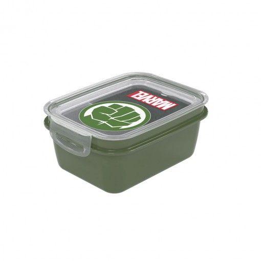 Marmita De Plástico 850ml Com Trava E Divisória Marvel Hulk Verde Plasútil