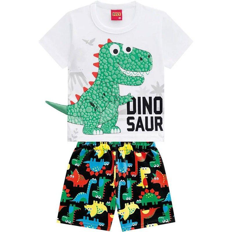 Conjunto 2 Peças De Algodão Dinossauro Camiseta Branca E Bermuda Preta Kyly