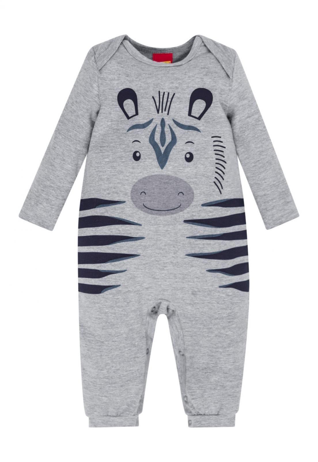 Macacão De Suedine Infantil Zebra Cinza Kyly