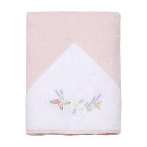 Toalha De Banho Atoalhada Forrada C/ Capuz Bordado Arco Floral Mami
