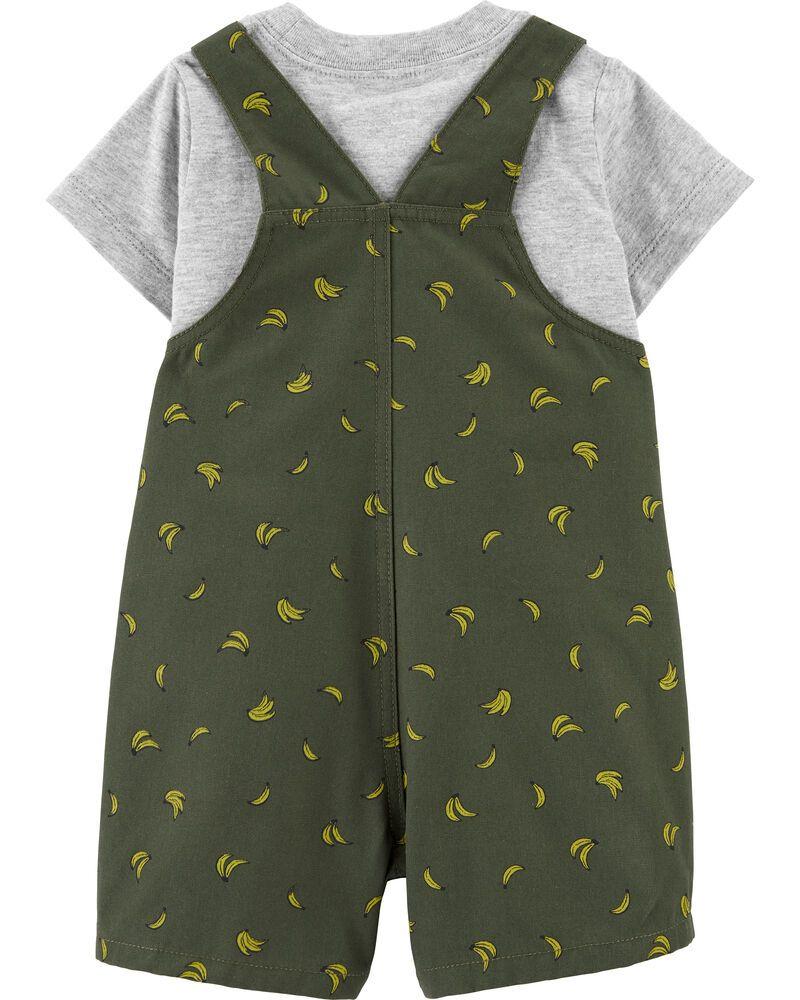 Conjunto 2 Peças De Algodão Handsome Jardineira Verde E Blusa Cinza Bananas Carter's