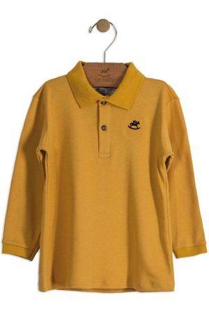 Camisa Polo De Algodão Suedine Manga Longa Amarelo Mostarda Up Baby