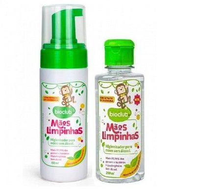 Kit Higienizador Para Mãos Sem Álcool Bioclub