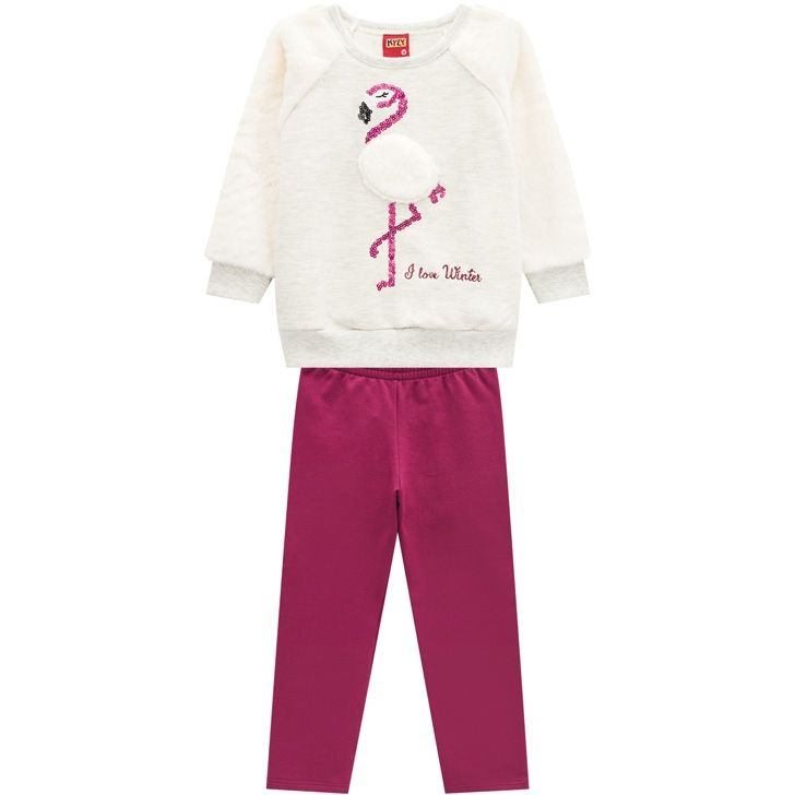 Conjunto De Moletom Peluciado Casaco E Calça Flamingo Cinza Kyly