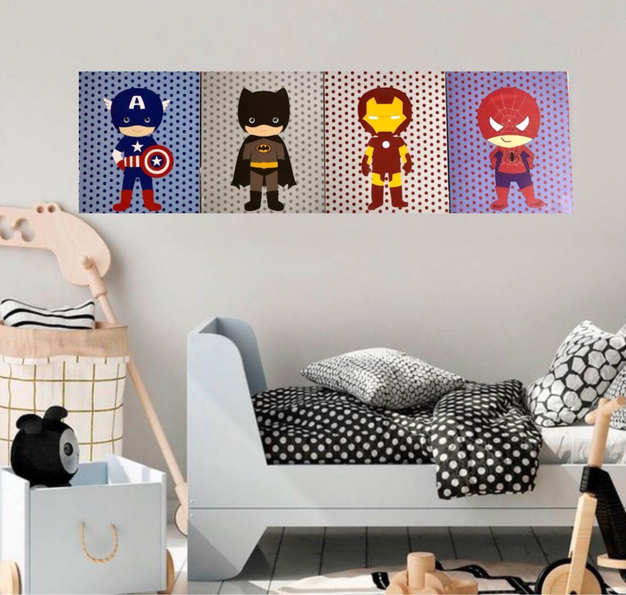 Conjunto 4 Quadros Decorativos Super Heróis Marvel Vingadores 23x19cm