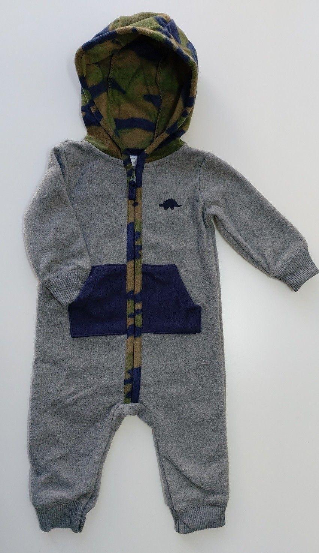 Macacão Fleece Com Capuz E Zíper Dinossauro Cinza Carter's Baby