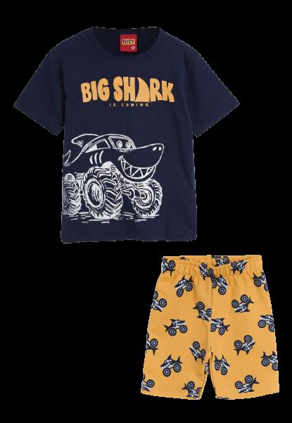 Conjunto 2 Peças De Algodão Tubarão Big Shark Camiseta Azul Marinho E Bermuda Amarela Kyly