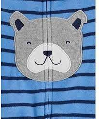 Macacão Fleece Com Pé E Zíper Listrado Bulldog Azul Carter's