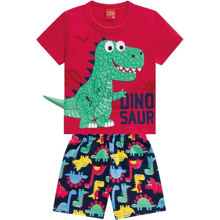 Conjunto 2 Peças De Algodão Dinossauro Camiseta Vermelha E Bermuda Azul Marinho Kyly