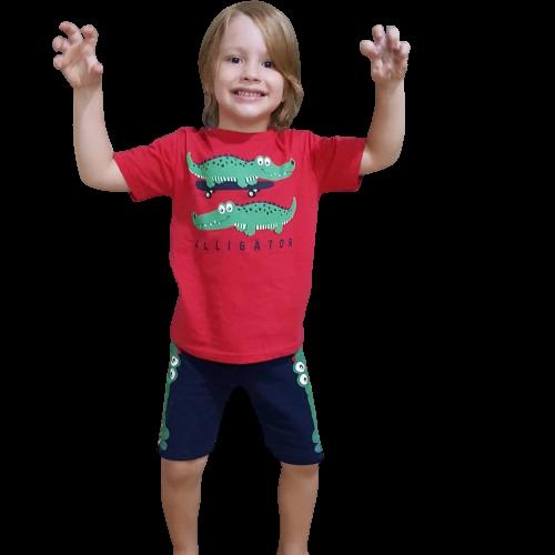 Conjunto 2 Peças De Algodão Jacaré De Skate Alligator Vermelho E Azul Marinho Kyly