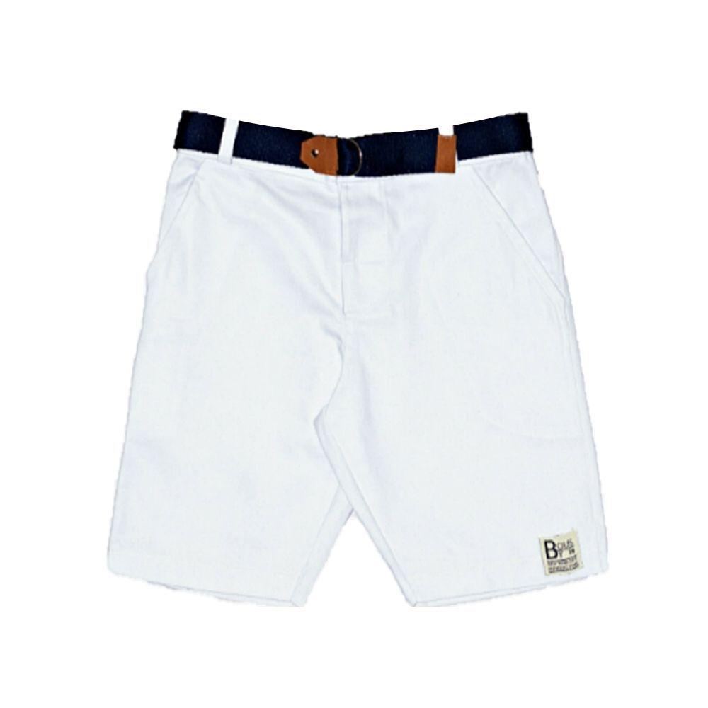 Bermuda Sarja Jeans Branco Com Cinto By Gus