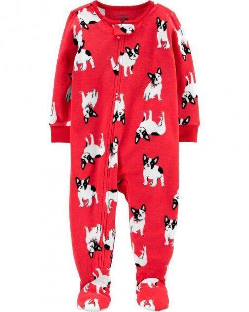 Macacão Fleece Com Pé E Zíper Dog Vermelho Carter's