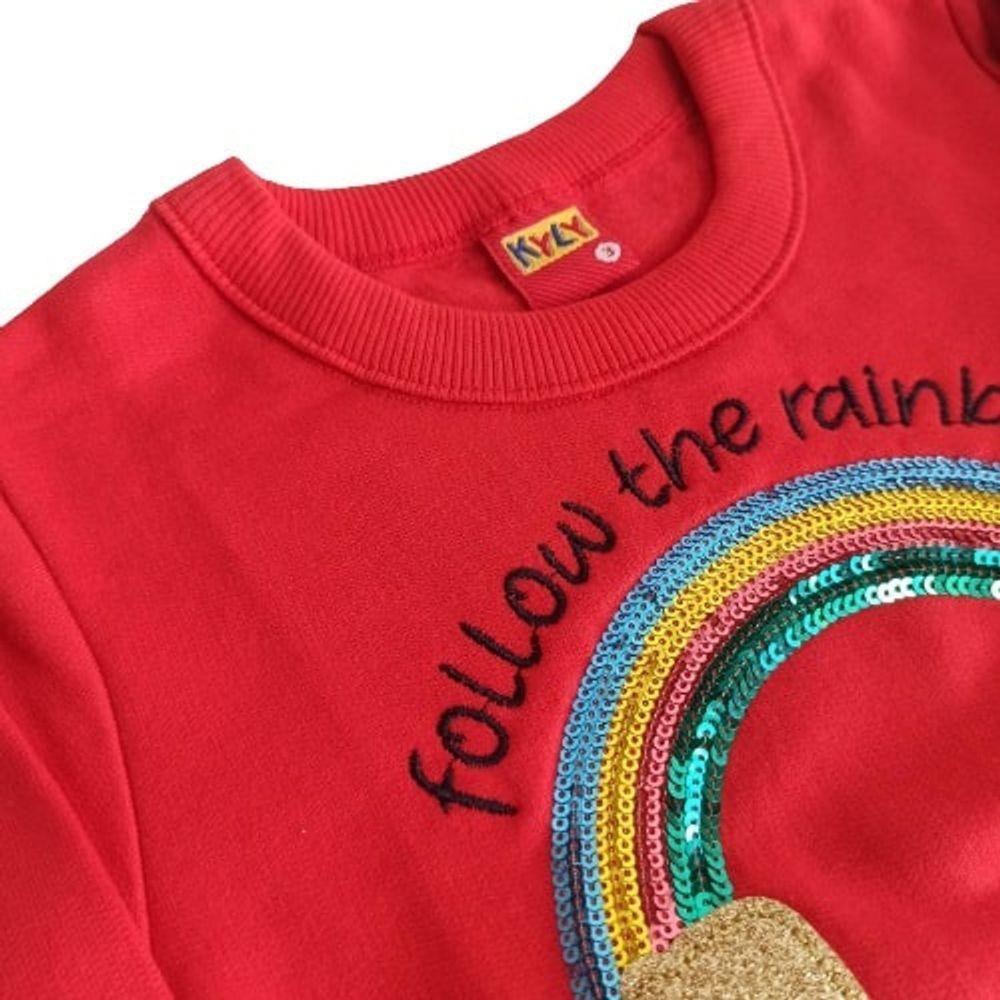 Conjunto De Moletom Casaco E Calça Arco-Íris Follow The Rainbow Vermelho Kyly