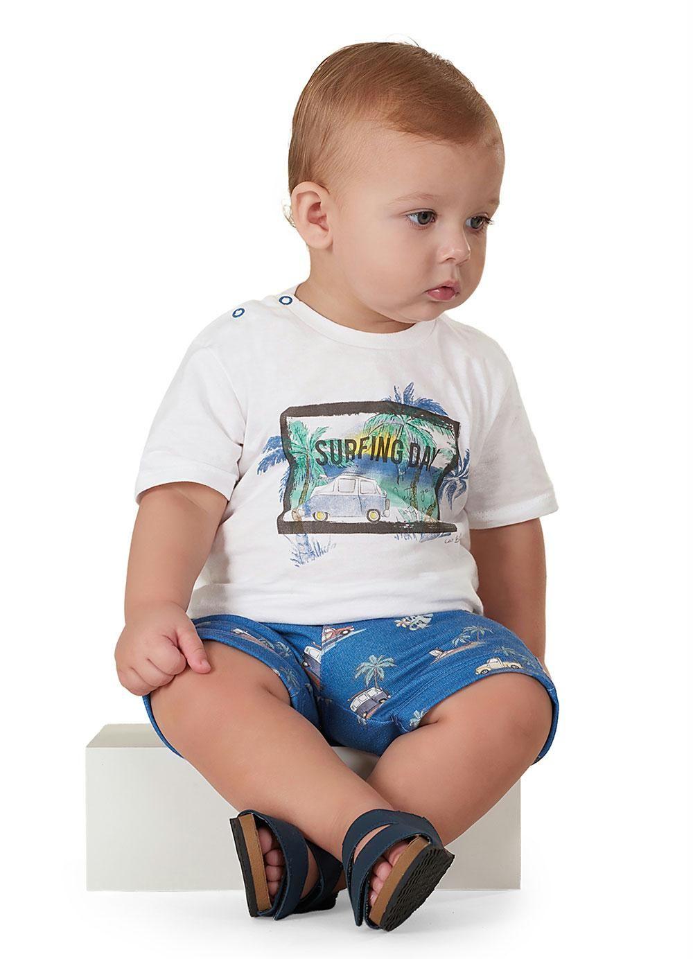 Conjunto 2 Peças De Algodão Camiseta E Bermuda Surfing Day Up Baby
